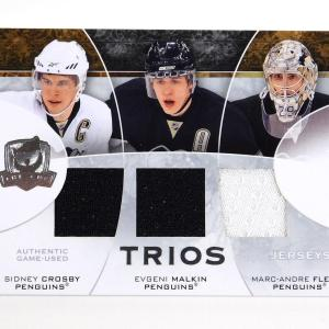2008-09 UD The Cup Crosby Malkin Fleury Penguins Trios Triple Patch Jersey 03/15