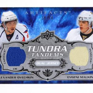 2008-09 UD Artifacts Ovechkin / Malkin Tundra Tandems Silver Dual Jersey /50
