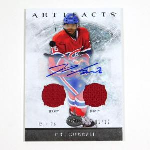 2012-13 UD Artifacts P.K. Subban #69 Auto Dual Jersey /12