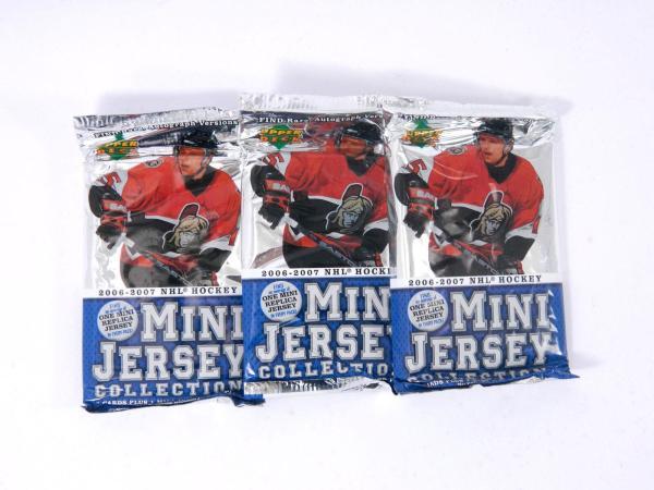 Lot of (3) 2006-07 Upper Deck Mini Jersey Hockey Pack (3 Cards + 1 Mini Jersey)
