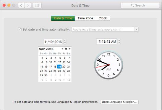 Mac Date and Time Configuration