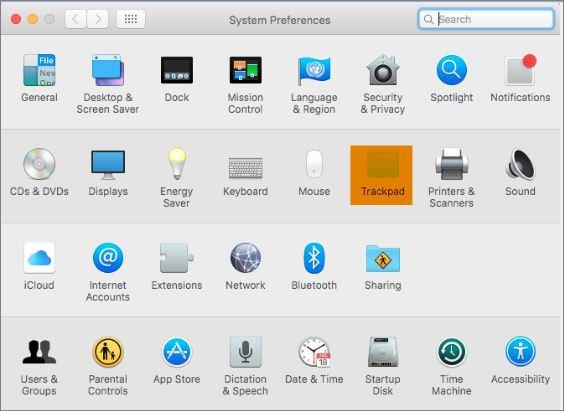 System Preferences Trackpad