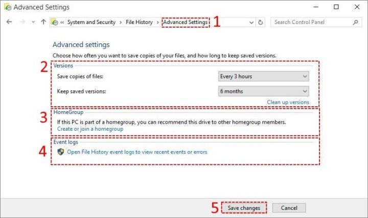 Advanced Settings of File History