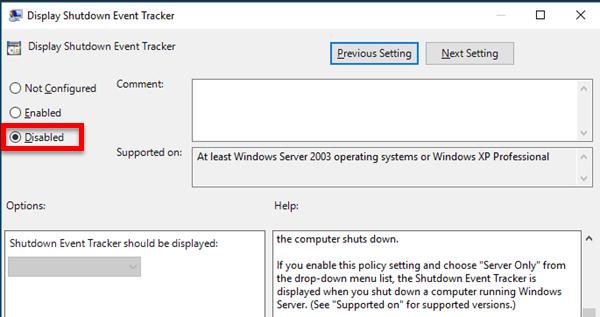 Disable Shutdown Event Tracker