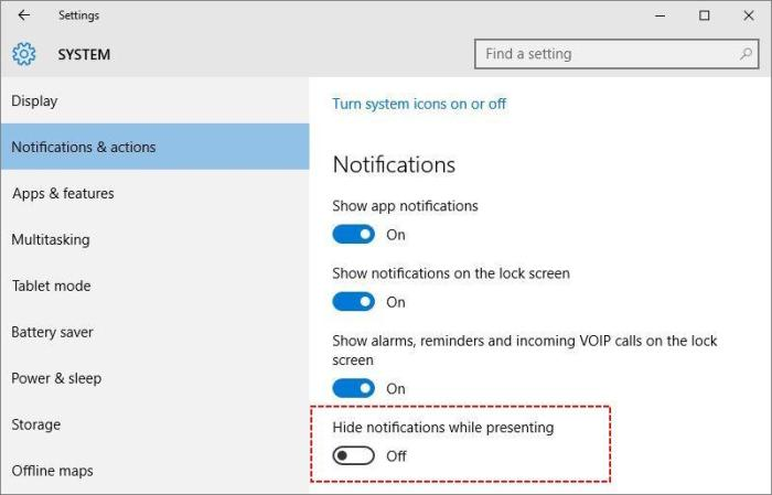 Customize notifications & actions in windows 10