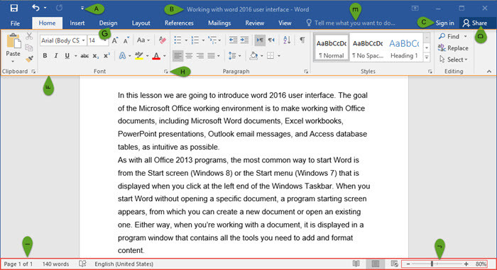 Introducing Word 2016 User Interface