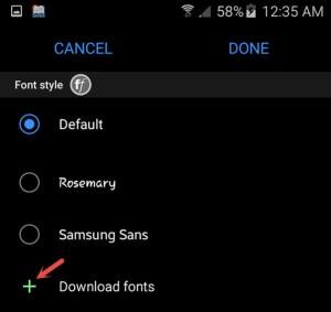 Downlaod or select fonts under