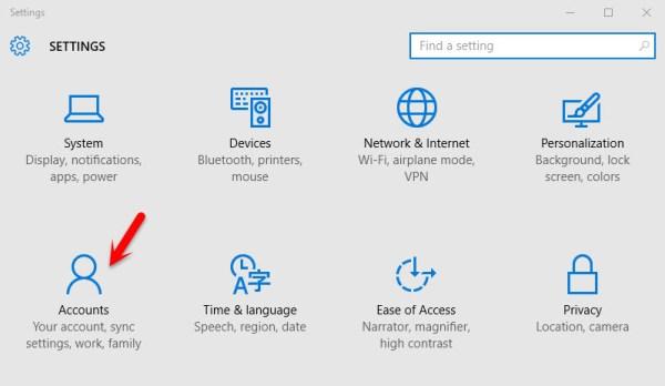 Windows 10 Account Settings