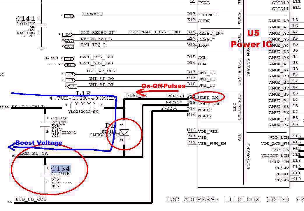 back of iphone 4s diagram 7 pin color code no backlight repair