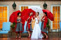 Bridesmaids red and grey dress | A Bride's Best Friend