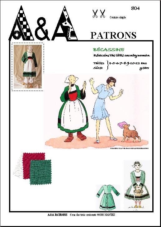 Dguisement Bcassine patron couture robe et kit  AA Patrons