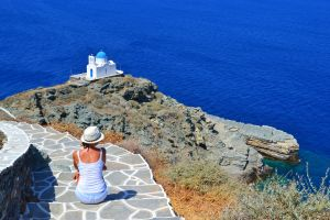 """Epta Martyres Church of The Seven Martyrs"""", Kastro, Sifnos view"""