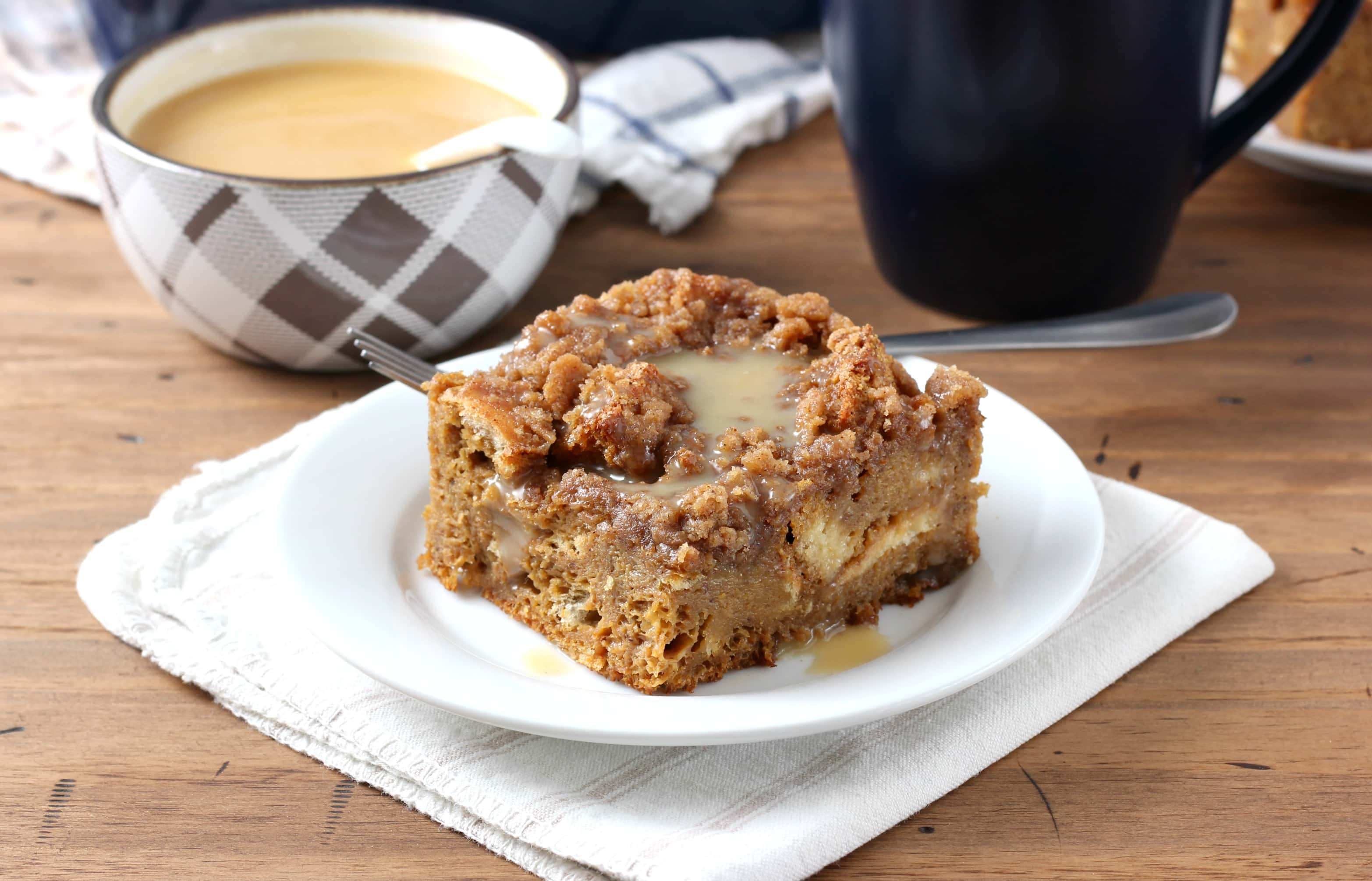 eggnog gingerbread french toast bake with syrup recipe from a