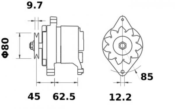 Lichtmaschine Iskra Letrika IA0055, 35A, 24V AAK1110 11