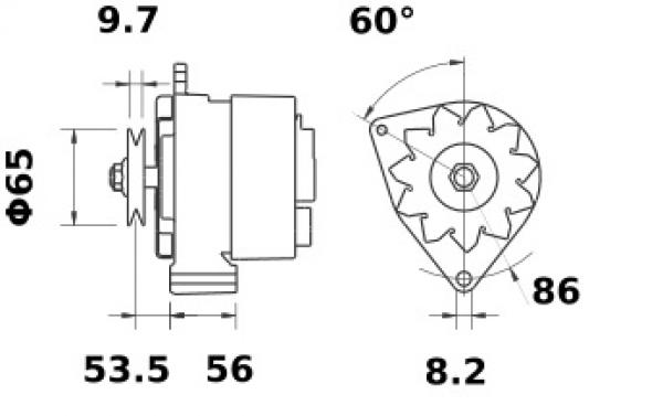 Lichtmaschine Iskra Letrika IA0613, 65A, 12V AAK3512 11