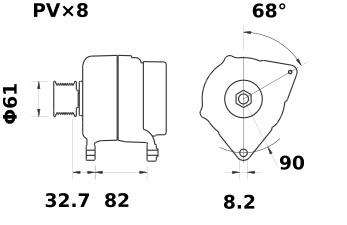 Lichtmaschine Mahle MG480 IA1378 CASE STEYR, 150A 12V