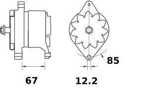 Lichtmaschine Mahle MG540 Iskra IA1152 SAME, 80A 12V
