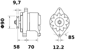 Lichtmaschine Mahle MG42 IA0070 für FIAT AGRAR, 45A 12V