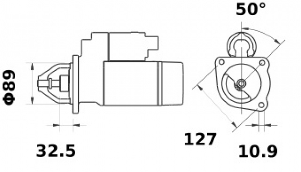 Anlasser Mahle MS21 IS1377 für CASE JCB MF, 3.2kW 12V