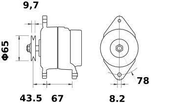 Lichtmaschine Mahle MG67 IA1372 LISTER PETTER, 55A 12V