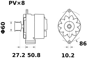 Lichtmaschine Mahle MG568 IA1362 für JOHN DEERE 50A 24V
