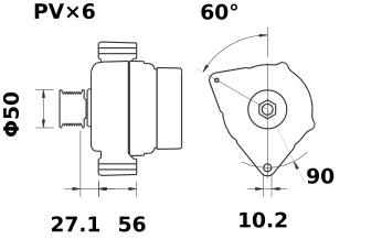 Lichtmaschine Mahle MG2 Iskra IA1043 Mercedes, 120A 12V