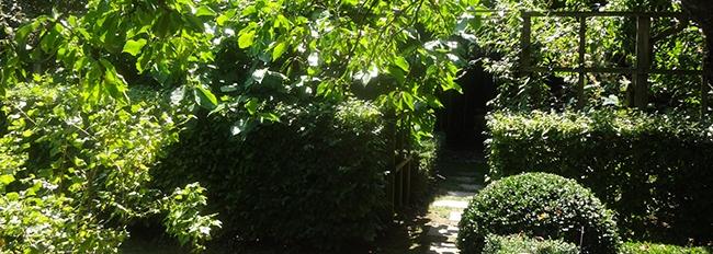 Passage entre le verger et le jardin zen