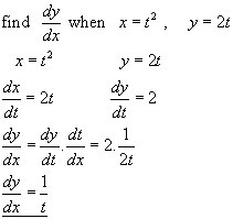 PARAMETRIC EQUATIONS, differential calculus from A-level