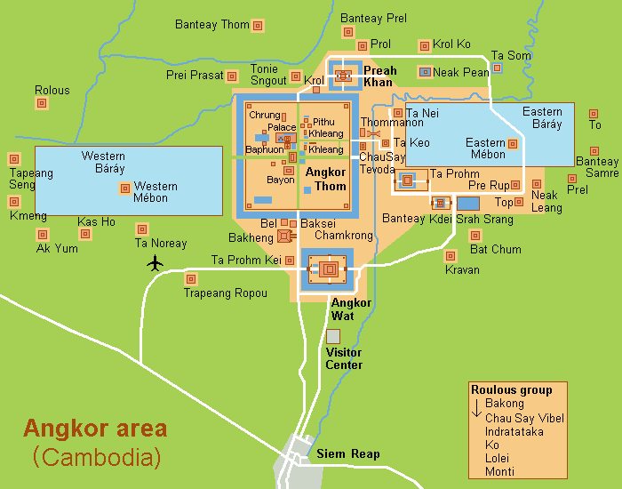 Cambodge, Angkor, carte
