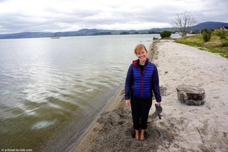 Nouvelle-Zélande, Rotorua, bain (de pieds) chaud