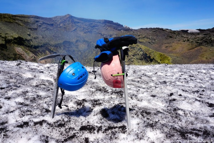 Chili, volcan Villarica, au sommet
