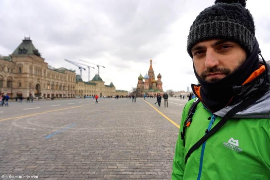 Russie, Moscou, Mathieu sur la place rouge