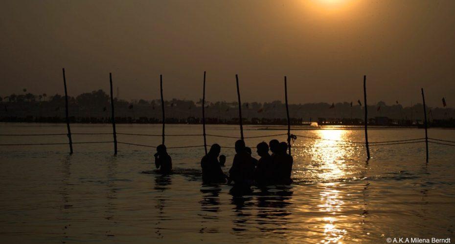 Inde-Khumbh Mela-coucher-soleil