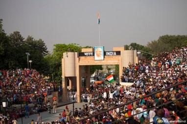 Inde, Amritsar,cérémonie frontière indo-pakistanaise