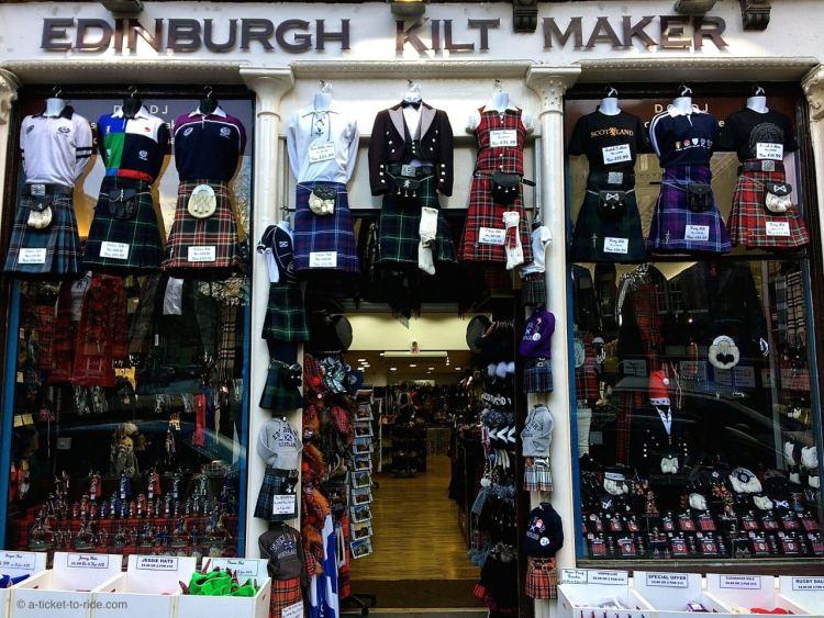 Ecosse, Édimbourg, magasin de kilts