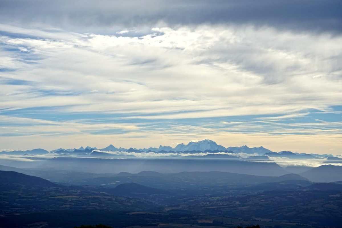 Ain, Plateau de Retord, panorama Alpes