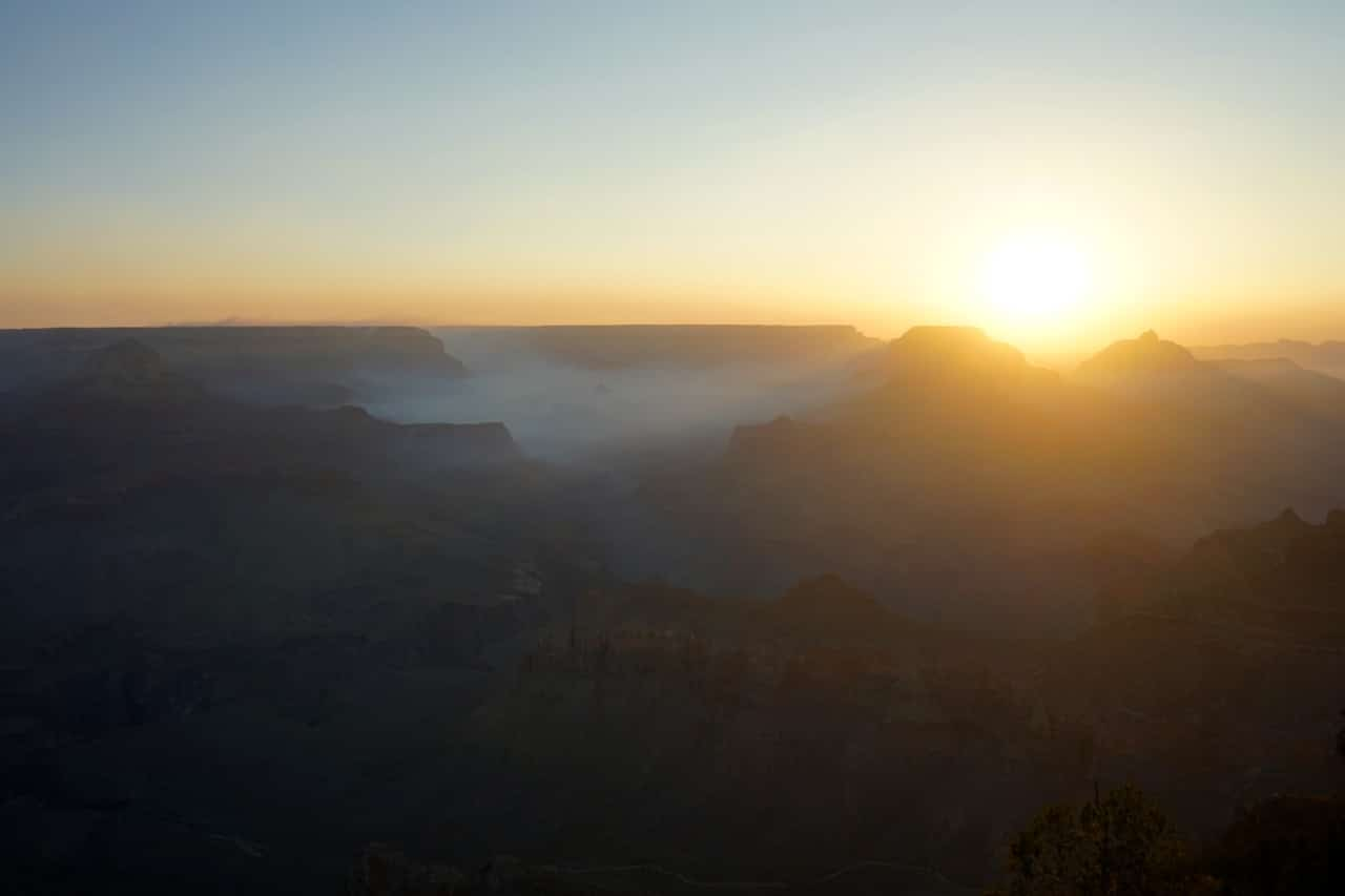 Grand canyon, Yaki point, lever de soleil