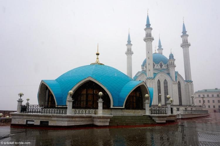 Russie, Kazan, Mosquée sous la neige