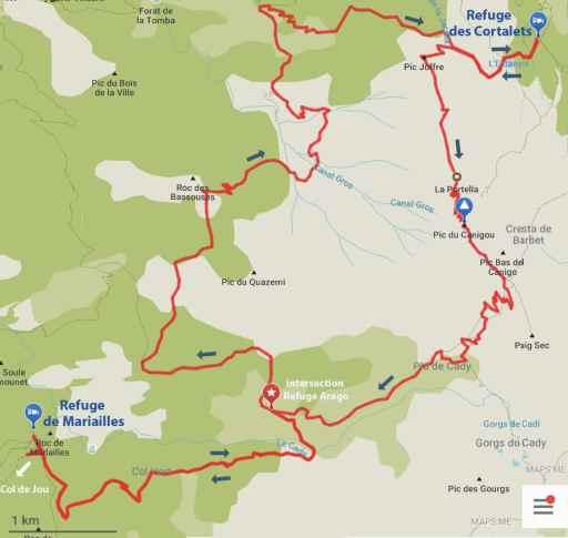 Carte de l'itinéraire, Grande boucle du Caanigou