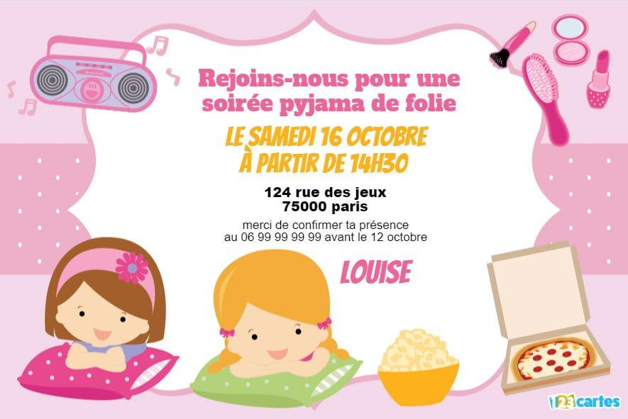 invitation soiree pyjama 10 ans