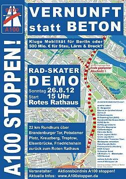 Fahrrad- und Skaterdemo gegen den Ausbau der A100