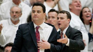 Archie Miller (right) with brother Sean when the now Dayton head coach assisted his older sibling in Arizona.
