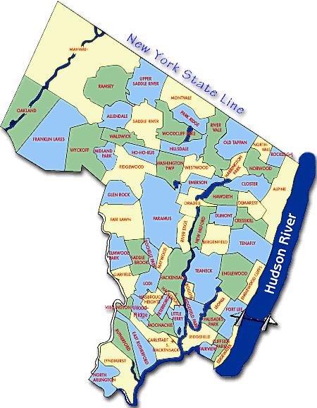 Bergen County NJ Map