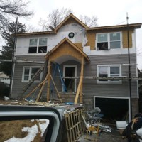 aluminum siding installation in process