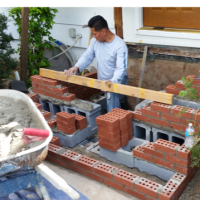 front steps out of brick installation