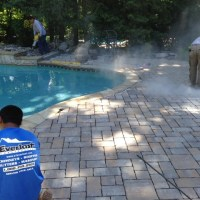 stone installation by pool