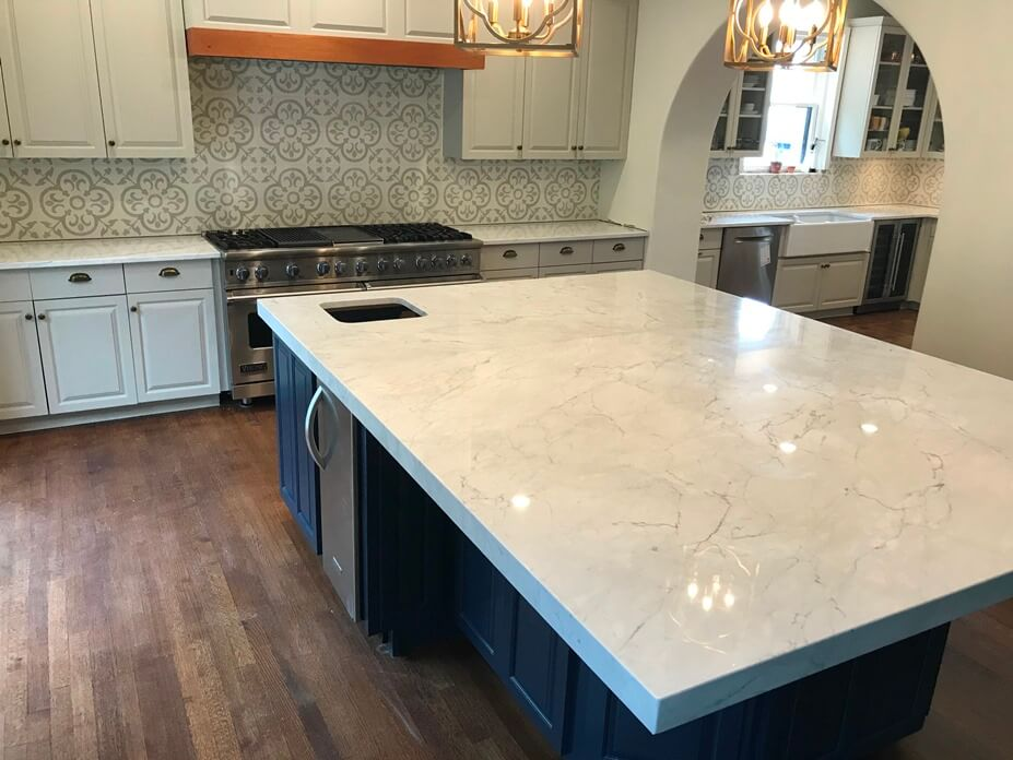 2 Slab marble island with 2in Miter Edge