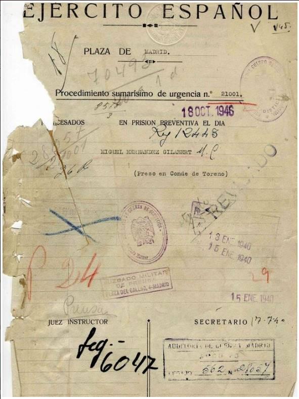 Primera página del consejo de guerra a Miguel Hernández