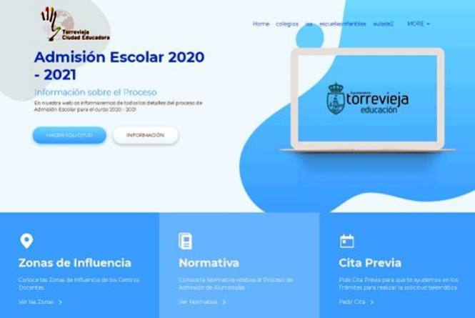 El Ayuntamiento de Torrevieja pone en marcha la nueva web municipal de educación para el proceso de admisión escolar