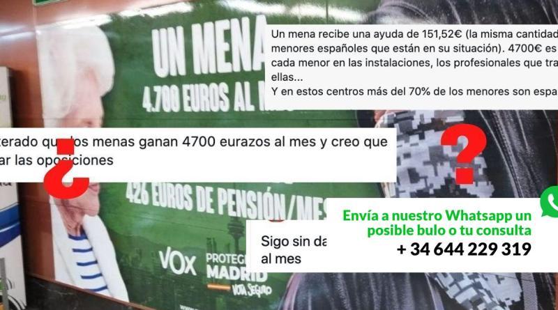 """¿Qué sabemos del cartel de VOX y los 4.700 euros al mes de los """"mena"""" en la Comunidad de Madrid?"""